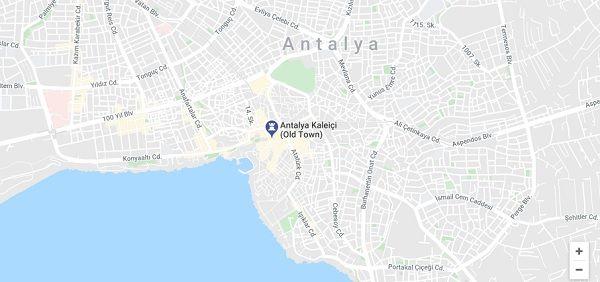 Antalya Kaleiçi haritası