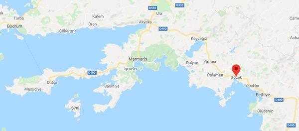 göcek merkez adası nerede, hangi ile bağlı, muğla fethiye türkiye haritası