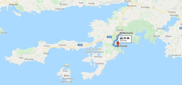turunç nerede marmaris ile arası kaç km harita