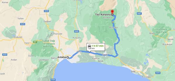 tazı kanyonu nerede nasıl gidilir yol tarifi harita