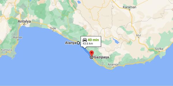 antalya alanya gazipaşa arası kaç km şehir merkezi nerede nasıl gidilir harita