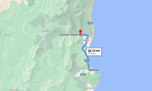 Antalya Kemer gezilecek yerler Göynük Kanyonu nerede nasıl gidilir harita