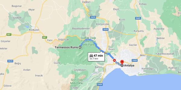 Antalya Termessos Antik Kenti Güllük Dağı Milli Parkı nerede nasıl gidilir yol tarifi giriş ücreti
