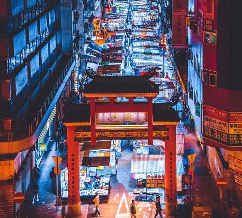 Hong Kong gece hayatı Alışveriş Tempe Street Night Market